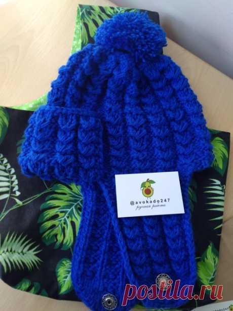 Васильковая шапка-шлем