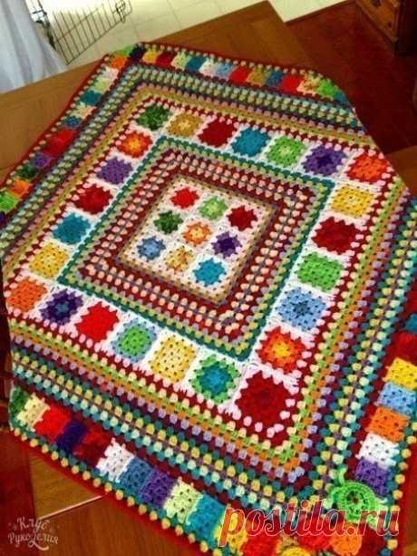 Уютные коврики из бабушкиного квадрата
