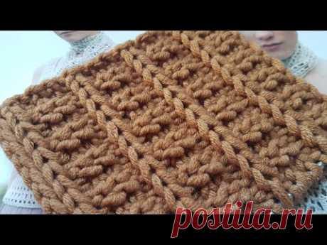 Вяжем очень эффектный рельефный узор спицами 🍫 knitting pattern.