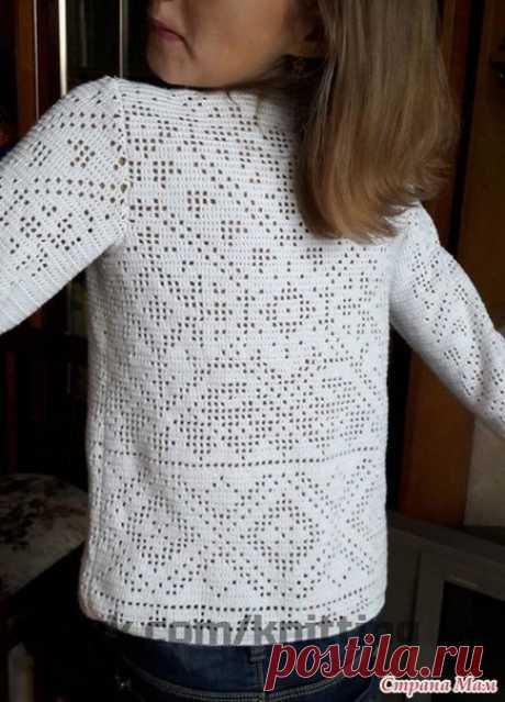 Прекрасная работа Опубликовала Ингабриг в Стране мам . Пуловер с бусинами для Маруси филейкой Пряжа использована Летто, 5 мотков, крючок №1,2, бусины под жемчуг разных размеров. МНОГО.