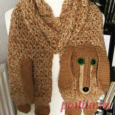 """Dachshund Scarf Crochet Pattern With Tutorials Instant 