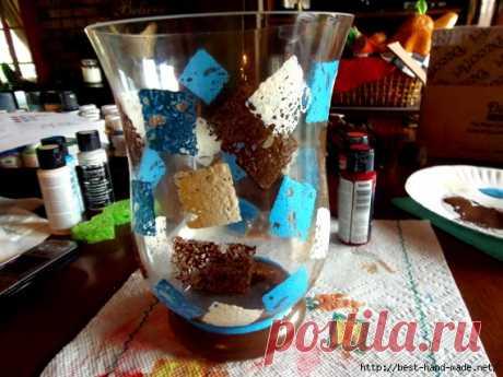 Роспись вазы с помощью губок