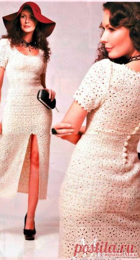 . Квадрат и силуэт. Стильное белое платье. - Все в ажуре... (вязание крючком) - Страна Мам