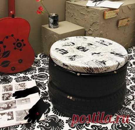 How to make a padded stool of the tire? Master class in production of a padded stool