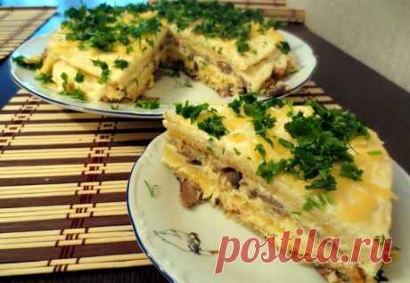 Закусочный торт с курицей и грибами: интересный рецепт