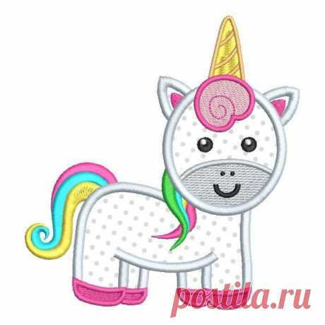 Cute Unicorn Applique (FA539-18) This is a cute little unicorn applique machine embroidery designfor girls. It's very sweet and 3 sizes are supplied with purchase- 4x4, 5x7, 6x10 inch hoops. Lots of formats and step by step applique instructions are included.