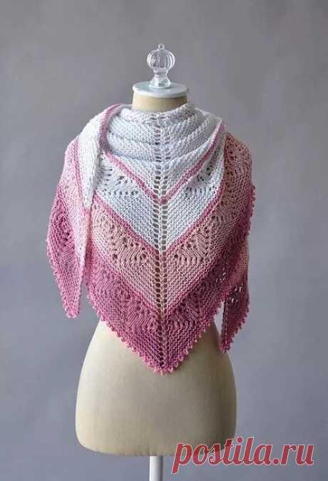 Вяжем шаль спицами — Красивое вязание