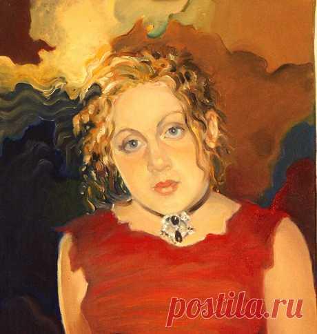 """Образец портрета в экспрессионизме картина """"Таня"""" 50х46 холст, масло  Цена 400-500$"""