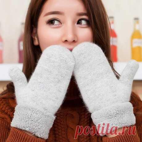Милые женские зимние вязаные шерстяные плотные кашемировые/бархатные теплые черные перчатки, женские милые однотонные рукавицы без пальцев L83 black gloves gloves ladiesladies gloves  
