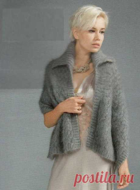 Jacket cape from a mohair spokes. Knitting by spokes from a mohair and mohair |
