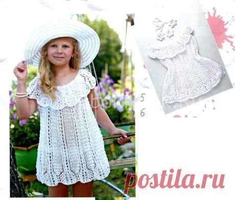 Ажурное платье с кокеткой   Вязание для девочек   Вязание спицами и крючком. Схемы вязания.