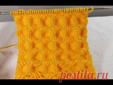 № 155 Рельефный бесподобный узор спицами типа БУФЫ или СОТЫ.  Для свитера, кофточки.