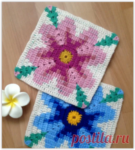 Красивые цветочные прихватки - всего 9 рядов крючком и отличный подарок готов