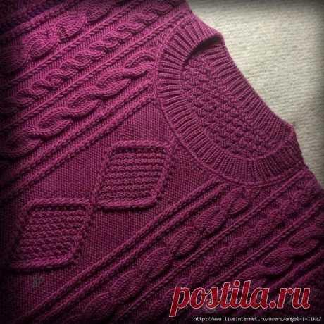 Вязаный свитер. Обвязка горловины из категории Интересные идеи – Вязаные идеи, идеи для вязания