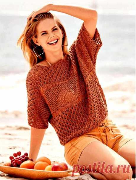 Вязание спицами - пуловер цвета корицы