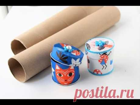 Gift box\/jewelry box out of empty paper rolls\/Best out of waste\/Decoupage gift boxes - YouTube