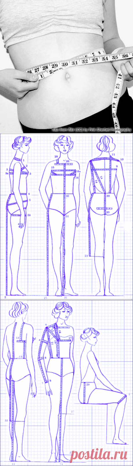 Кройка и шитье. Снятие мерок. | Иллюстрированные уроки по кройке и шитью. Швейные мерки. Построение выкройки по фигуре.