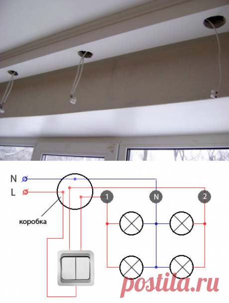 Installation of dot lamps in a ceiling the hands