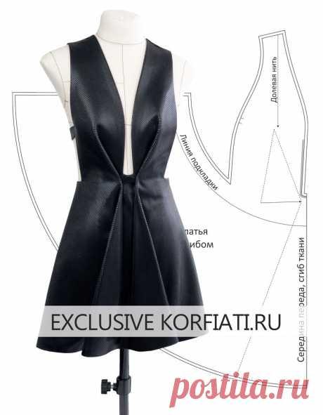 Выкройка платья с глубоким вырезом от Анастасии Корфиати Выкройка платья с глубоким вырезом. Секрет модели заключается в фактурных складках, плавно перетекающих от лифа к юбке. Идеальное решение для мастеров шитья