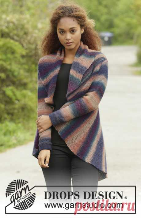 """Spectre / DROPS 171-25 - Free knitting patterns by DROPS Design Knitted DROPS jacket worked in a circle in garter st with short rows in """"Delight"""". Size: S - XXXL."""