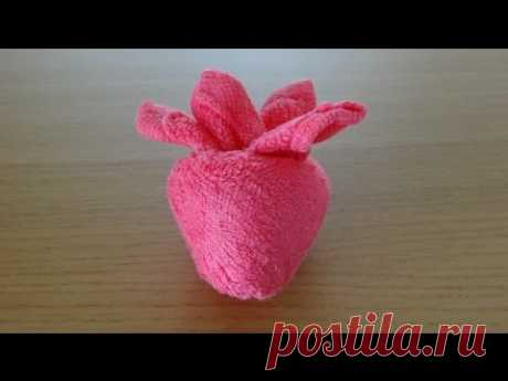 How to Make a Towel Strawberry おしぼりイチゴのつくり方 Como Hacer una fresa de toalla - YouTube