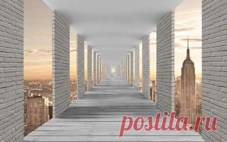 Фотообои Кирпичный тоннель над городом, расширяющие пространство. Арт. №36090   KLV-обои