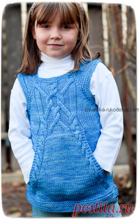 Vest for the girl spokes with kangaroo pockets. A children's vest with braids a master class