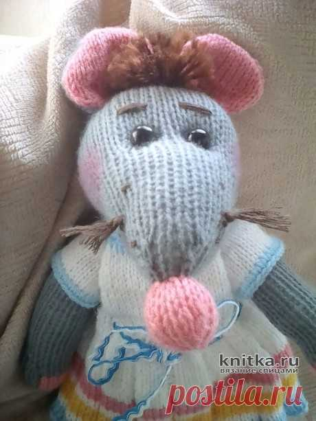Вязанная спицами крыса Машуня. Работа Натальи Передельской, Вязаные игрушки