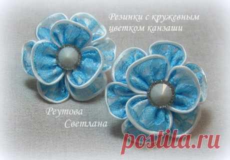 Резиночки с кружевным цветком
