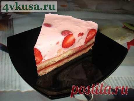 Йогуртовый торт с клубникой.  Торт без выпечки.