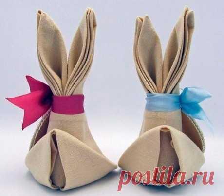 Зайчик-оригами из салфеток — DIYIdeas