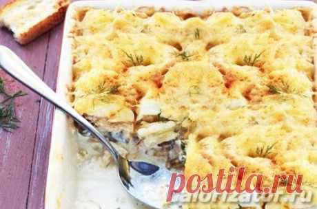 Запеканка картофельная с курицей и грибами -