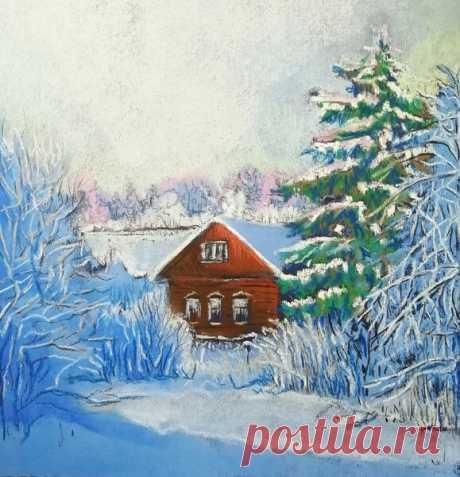 Как нарисовать зимний пейзаж пастелью? | Хобби Фани. | Яндекс Дзен