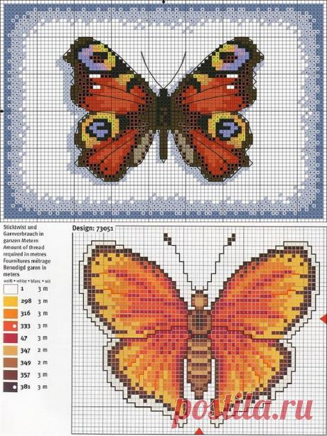 Подборка схем для вышивки бабочек.