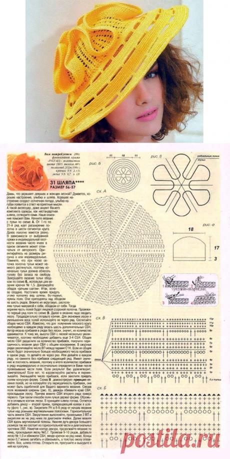 Шляпа от Людмилы Орешкиной. Схема вязания