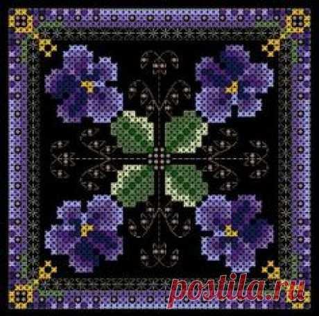 Схема вышивки крестиком бисером бискорню