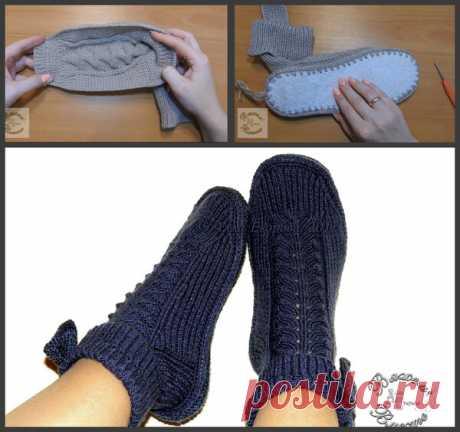 Как связать элегантные носки-сапожки с оригинальным узором, для теплого и уютного комфорта ваших ножек | Рукоделкино | Яндекс Дзен