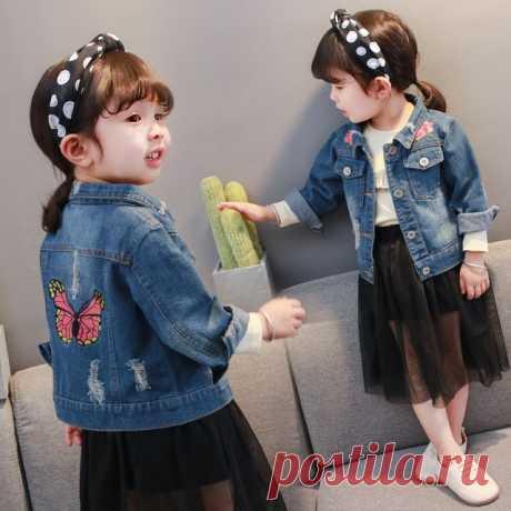2018 nuevas chaquetas de mezclilla de verano para niña ropa linda para niños bebés niñas rompevientos abrigo disfraz algodón niños ropa 5jk085 I-Gm0