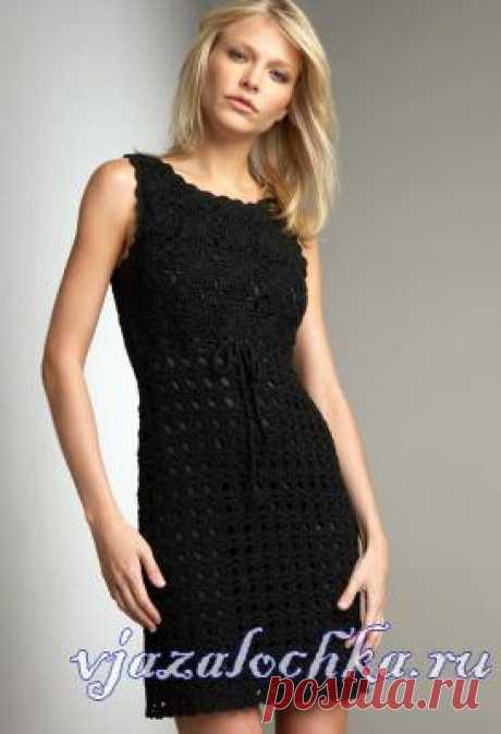 Черное платье крючком из мотивов
