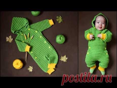 Детский комбинезон крючком | Комбинезон крючком реглан сверху, росток, мастер-класс для начинающих
