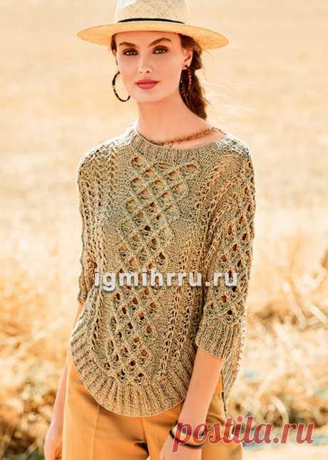 Льняной пуловер с плетеным узором и закругленной линией низа. Вязание спицами со схемами и описанием