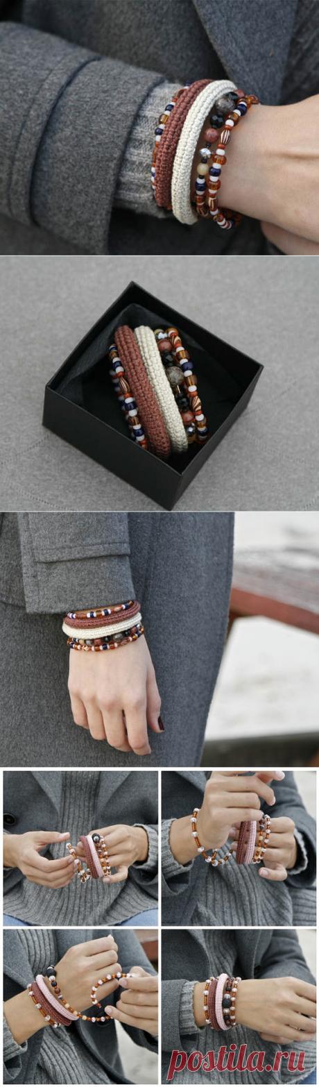 Crochet wrap bracelet stacked bangles memory wire bracelet
