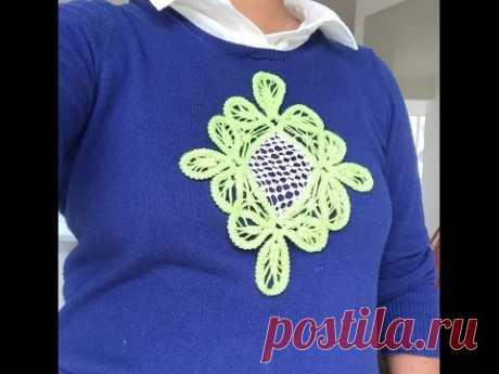 Crochet Romanian Point Lace Top - diamond shape pattern - YouTube Кружевная вершина кружева Romanian Point - ромбовидная форма