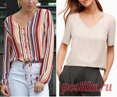 Blusa com decote V manga curta ou comprida Esquema de modelagem de blusa com decote V com manga curta e comprida do tamanho 36 ao 70 (plus size).