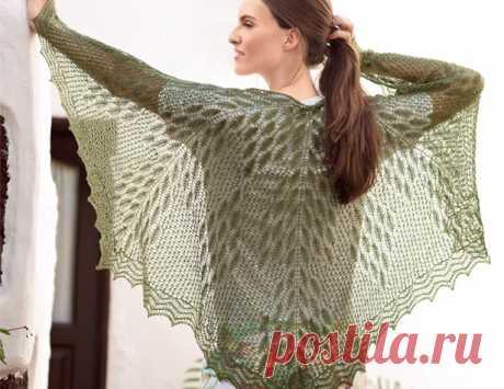 Ажурный платок с растительным узором - схема вязания спицами. Вяжем Шали на Verena.ru
