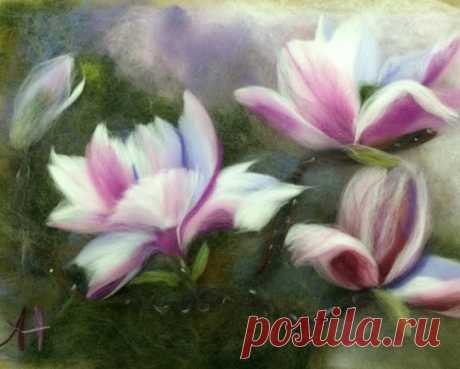 Master class in a woolen water color: The magnolia - leisure, the program, responses, registration, cost is 2500 rubles