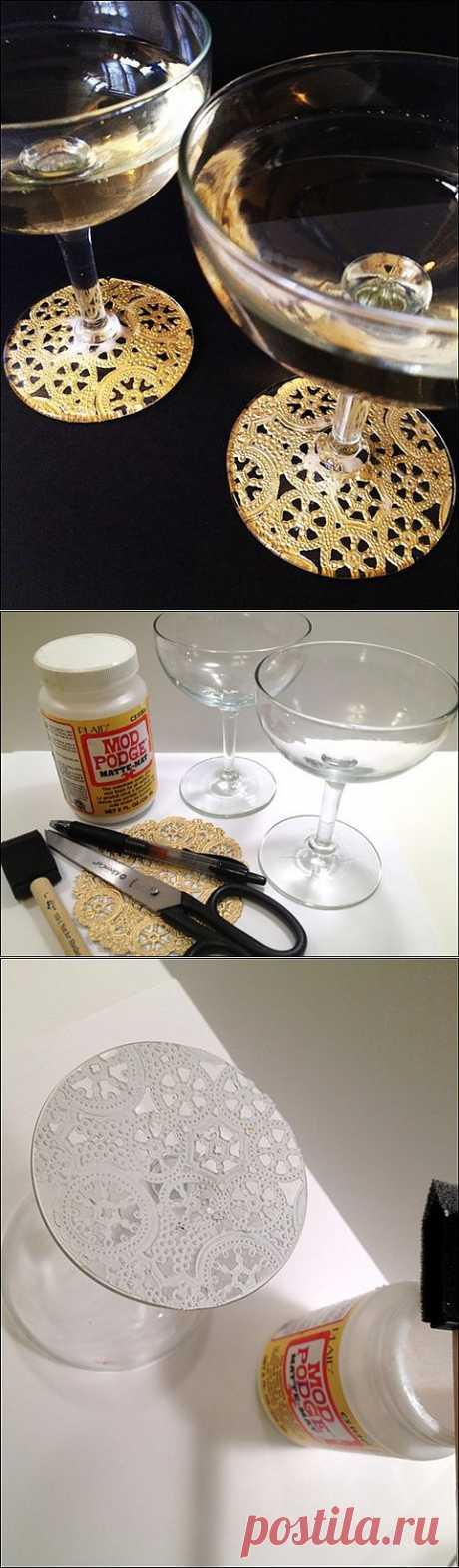 Идея как украсить бокалы к празднику (Diy) / Сервировка стола / Модный сайт о стильной переделке одежды и интерьера
