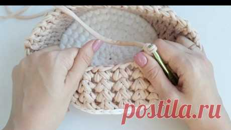 Подборка узоров для вязания из трикотажной пряжи. Подойдут для вязания сумок, корзинок.