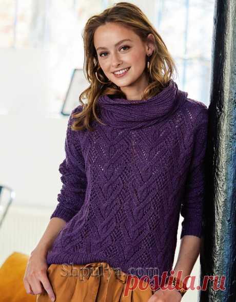 Пуловер с ажурным узором из «кос» и снуд спицами — Shpulya.com - схемы с описанием для вязания спицами и крючком