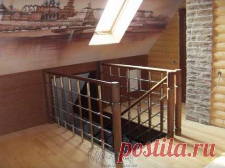 Лестницы, ограждения, перила из стекла, дерева, металла Маршаг – Ограждения лестницы комбинированные